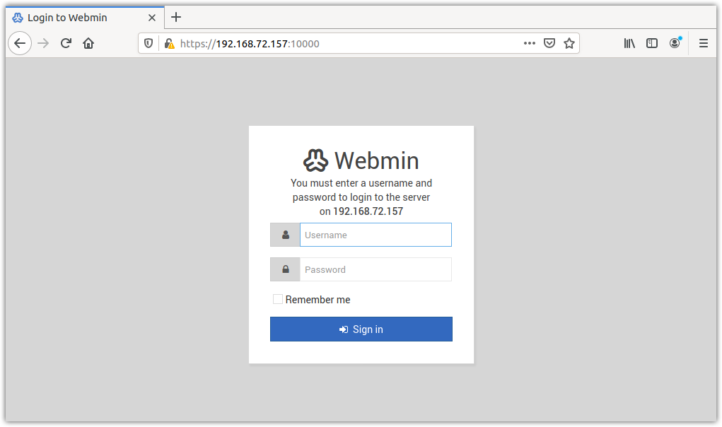 Login to Webmin
