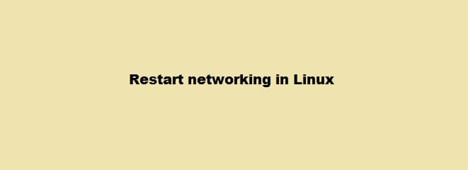 Restart Networking in Linux