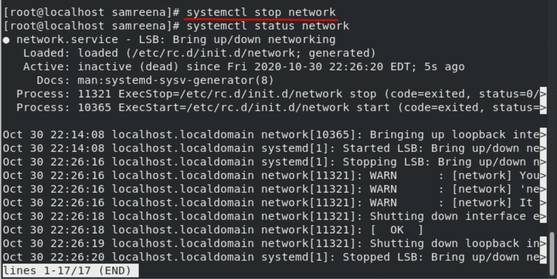 linux restart network