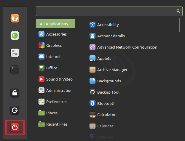 how to shutdown linux mint
