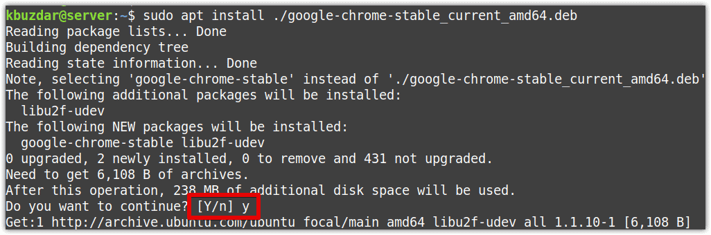 Installation of Google Chrome via gdebi