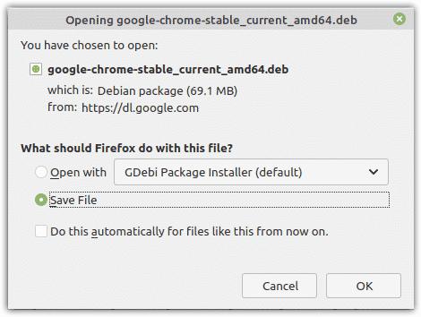 Save .deb file for Google chrome