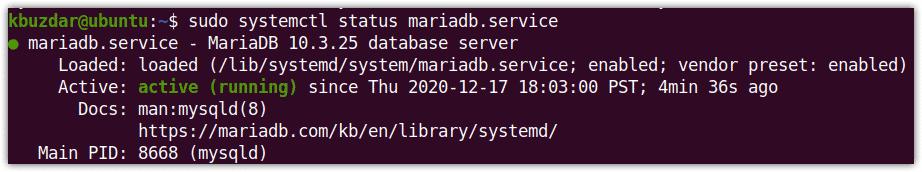 Status of MariaDB service