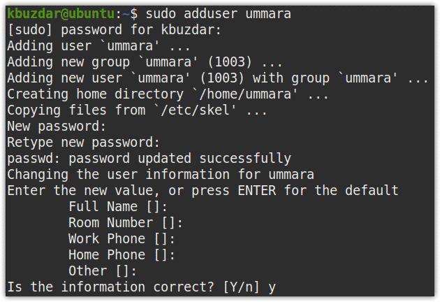 adding a user through command line