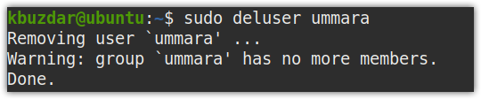 removing a user through command line