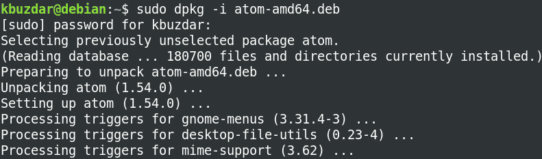 installing atom via dpkg