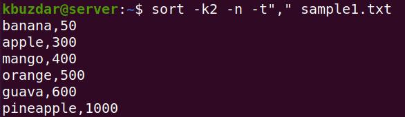 sort using different filed separator