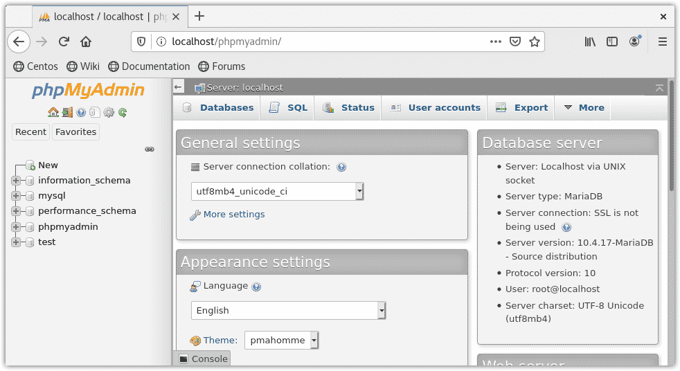 verify phpmyadmin installation