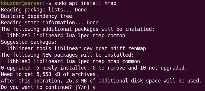 installing Nmap via apt