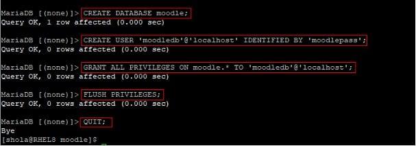 Prepare MariaDB for Moodle