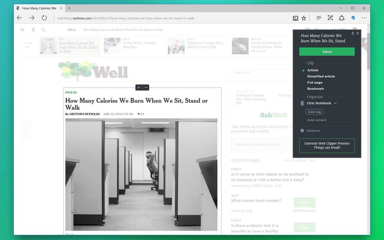 Evernote launches its Web Clipper extension for Microsoft Edge - MSPoweruser