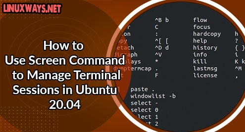 How to Use Screen Command to Manage Terminal Sessions in Ubuntu 20.04